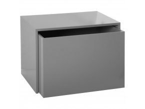 Skříňka, box, box na hračky, krabice na hračky, komoda na hračky, odkládací regál, kontejner na hračky, hrací vozík - barva šedá, 58 x 42 x 38 cm