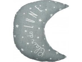 Šedý polštář, dekorativní polštář, polštář měsíc, měkký polštář, polštář s napisem - šedá barva, 30 x 27 cm