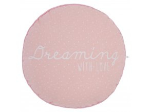 Růžový polštář, dekorativní polštář, kulatý polštář, měkký polštář, polštář s napisem - růžová barva - Ø 28 cm