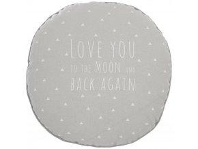 Šedý polštář, dekorativní polštář, kulatý polštář, měkký polštář, polštář s napisem - šedá barva - Ø 28 cm