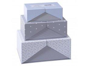 Krabička, krabice, kontejner pro uchovávání, box, dekorativní krabice, SURPRISE, 3 ks, barva šedá