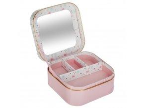 Box, nádoba, kazeta, krabička, box pro šperky, dekorativní box, skříň se zrcadlem, nádoba na drobnosti, barva růžová