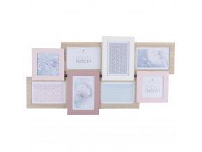 Obdélníkový rámeček pro 8 fotek -  fotorámeček, rámeček na fotky - mini galerie na fotky, 60,5 x 1,8 x 32 cm