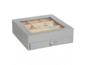 Skříňka, kazeta, box na bižuterie, dřevěná krabice, organizer, 24 x 24 x 7 cm