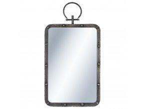 Zrcadlo nástěnné s přívěskem, kovové zrcadlo, obdélníkové zrcadlo 48x32cm