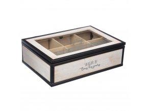 Dřevěný box, box na čaj, dřevěná kazeta  - 6 přihrádek