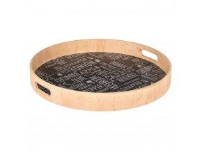 Emako Dřevěný podnos, snídaňový podnos, zásobník na servírování jídel  Ø 40 cm