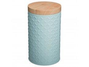 Nádoba, kovová nádoba s víkem, box, tyrkysový box Ø 11 cm - barva tyrkysová