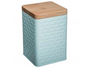 Nádoba, kovová nádoba s víkem, box, tyrkysový box 10,5 x 16 cm - barva tyrkysová