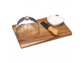 Secret de Gourmet Krájecí prkénko, prkénko na sýry, obdélníková prkénko, prkénko pro občerstvení  4 díly, akáciové dřevo