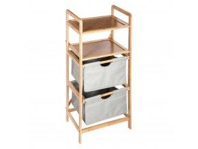 Bambusová police, koupelnový regál, dřevěný regál, koupelnový police, skládací police - 4 stupňový, šedá barva