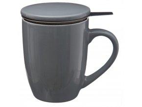 Hrnek na čaj, konvice na čaj, čajová konvice, skleněný džbán, džbán na čaj - 320 ml, šedá barva
