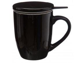 Hrnek na čaj, konvice na čaj, čajová konvice, skleněný džbán, džbán na čaj - 320 ml, černá barva