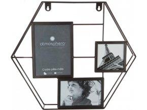 Obdélníkový rámeček pro 3 fotky,fotorámeček, rámeček na fotky - mini galerie na fotky, 35x40 cm, černá barva