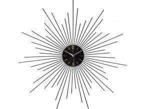 Kulaté hodiny, nástěnné hodiny, stříbrné hodiny SUN, barva černá - Ø 50 cm