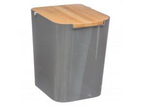 Koupelnový koš, odpadkový koš, koš s bambusovým krytem BAMBOU, šedá barva 5L