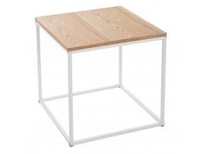 Stolek kávový, stůl, balkonový stolek, příležitostný stolek, kovový stůl, dřevěný stůl SQUARE NORDIC, bílá barva