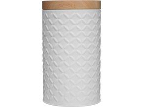 Nádoba, kovová nádoba s víkem, box, bílý box Ø 11 cm - barva bílá