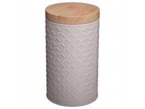 Emako Nádoba, kovová nádoba s víkem, box, šedý box Ø 11 cm  barva šedá