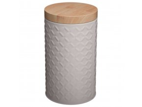 Nádoba, kovová nádoba s víkem, box, šedý box Ø 11 cm - barva šedá