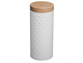 Nádoba, kovová nádoba s víkem, box, bílý box Ø 7,5 x 17,5 cm - barva bílá
