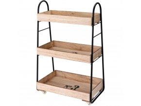 Dřevěný regál  na kolečkách  barový, 3 patra