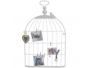 Dekorativní ptačí klec - věšák na obrázky, pohlednice, poznámky ...