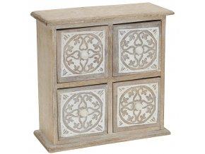 Dřevěná skříňka se zásuvkami na drobnosti - bílá barva