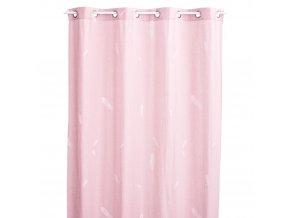 Závěs na okna, růžový závěs, dekorační závěs, motiv bílé peří - 140 x 260 cm, růžová barva