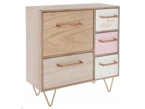 Box, úložný box, mini komoda, skříňka na drobnosti, organizér Be an Angel - 5 zásuvek pro skladování, ružový box