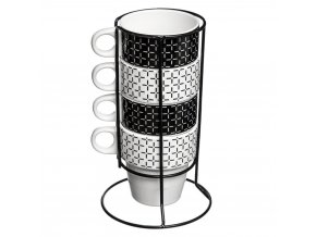Šálek, porcelánový hrnek, kovový stojan, sada - 5 ks