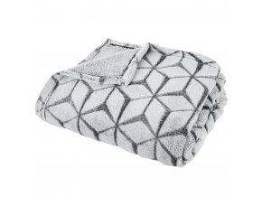Teplá deka, přikrývka, deka s polyesteru, GEOMETRY 150 x 125 cm - šedá barva