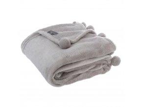 Teplá deka, přikrývka, deka s polyesteru, deka s pompony, 150 x 125 cm - šedá barva