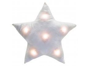 Bílá polštář, dekorativní polštář, měkký polštář, polštář hvězda STAR, zářící polštář LED - bílá barva