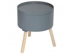 Odkládací stolek, dřevěný stůl, konferenční stolek, kávová stolička, balkonový stolek, OSHI, 2v1, kulatý stůl, 38 x 38 x 45 cm, barva tmavě šedá
