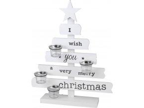 Emako Dřevěná dekorace Vánoční svícen Stromeček