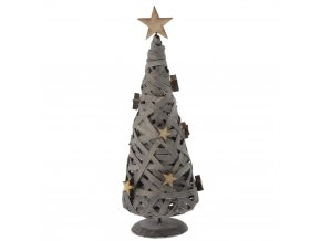 Emako Dřevěná dekorace  Stromeček zdobený hvězdami