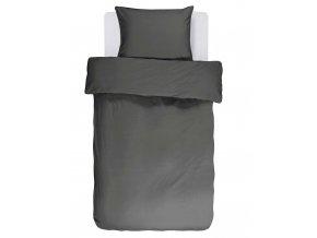 Bavlněné povlečení na postel v barvě antracit, obrázkové povlečení, povlečení na jednolůžko, černá barva, Essenza, 140 x 220 cm - 140x220+60x70