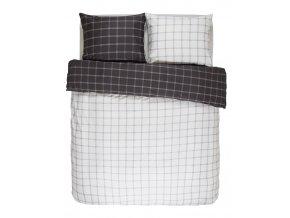 Bavlněné povlečení na postel, obrázkové povlečení, povlečení na dvojlůžko, bílo-hnědá barva, károvaný vzor, Essenza 200 x 220 cm -  200x220+2/60x70
