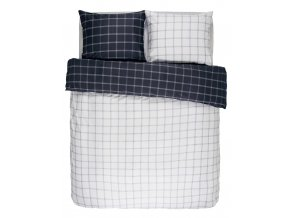 Bavlněné povlečení na postel, obrázkové povlečení, povlečení na jednolůžko, bílo-modrá barva, károvaný vzor, Essenza - 140x220+60x70