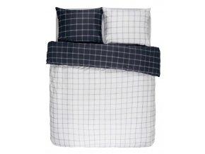 Bavlněné povlečení na postel, obrázkové povlečení, povlečení na dvojlůžko, tmavě modré barvy, károvaný vzor, Essenza200 x 220 cm -  200x220+2/60x70