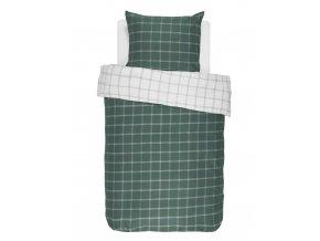 Bavlněné povlečení na postel, obrázkové povlečení, povlečení na jednolůžko, bílo-zelená barva, károvaný vzor, Essenza - 140x220+60x70
