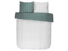Bavlněné povlečení na postel, obrázkové povlečení, povlečení na dvojlůžko, bílo-zelená barva, károvaný vzor, Essenza 200 x 220 cm -  200x220+2/60x70