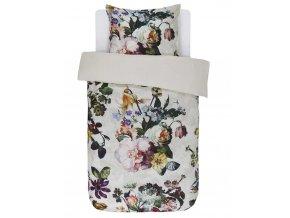 Bavlněné povlečení na postel, saténové povlečení,  obrázkové povlečení, povlečení na jednolůžko, velké květiny, Essenza, bílé barvy, květinový design, 140 x 220 cm - 140x220+60x70