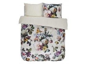 Sada bavlněného povlečení na dvojlůžko, designové povlečení, exkluzivní povlečení, povlečení v květinách, bílá barva, květinový design, Essenza, 200 x 220 cm -  200x220+2/60x70