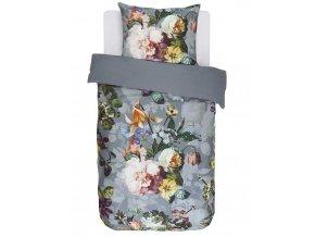 Bavlněné povlečení na postel, obrázkové povlečení, povlečení na jednolůžko, modré květy, Essenza, 140 x 220 cm - 140x220+60x70