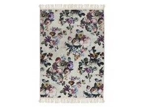 Koberec s květinovým vzorem, kelim s květinovým vzorem, bilý koberec, pokojový koberec, koberec pro obývací pokoj, 120 x 180 cm, Essenza - 120x180