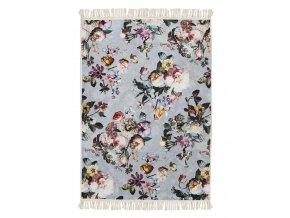 Koberec s květinovým vzorem, kelim s květinovým vzorem, světle modrý koberec, pokojový koberec, koberec pro obývací pokoj, 120 x 180 cm, Essenza - 120x180