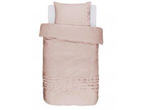 Bavlněné povlečení na postel, sada saténových postelí, povlečení na jednolůžko, obrázkové povlečení 100% bavlna - pastelové růžová barva, Essenza - 140x220+60x70