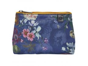 Cestovní sáček na kosmetiku, příruční kosmetická taška s květinovým vzorem, tmave modrá barva,